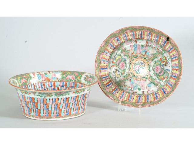 A Cantonese famille rose basket and stand