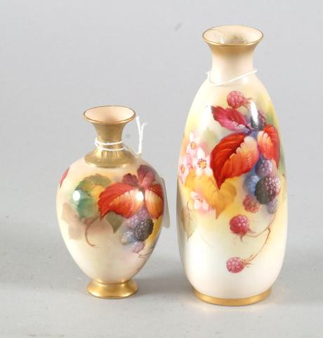 Worcester, Kitty Blake 2 restored vases #2491 & #302