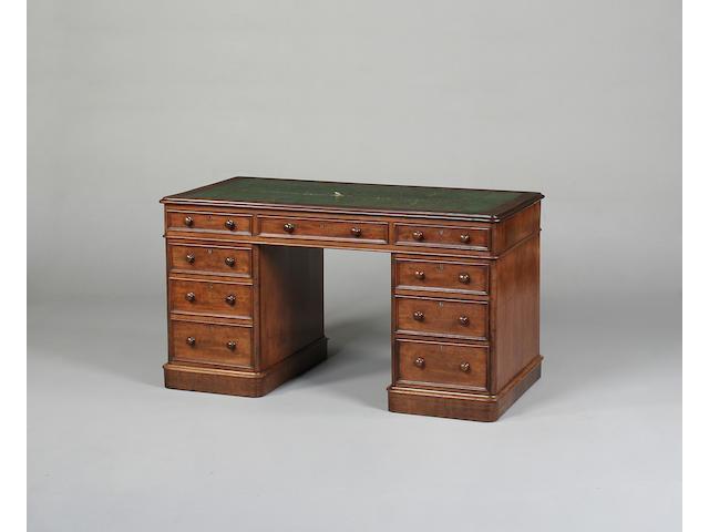 A Victorian mahogany pedestal desk