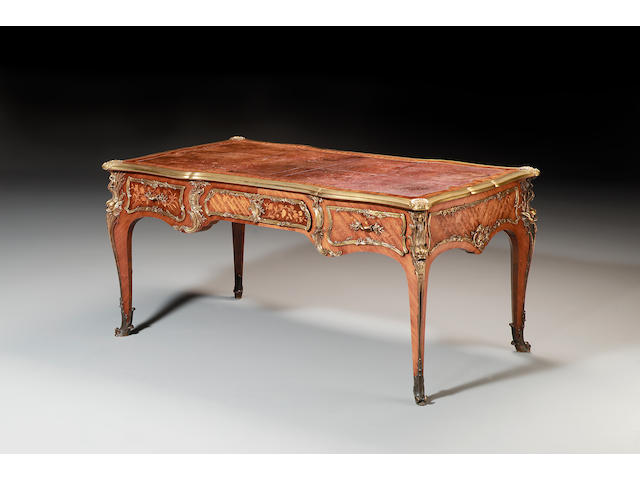 A fine exhibition quality 19th century kingwood and sycamore marquetry Bureau Plat