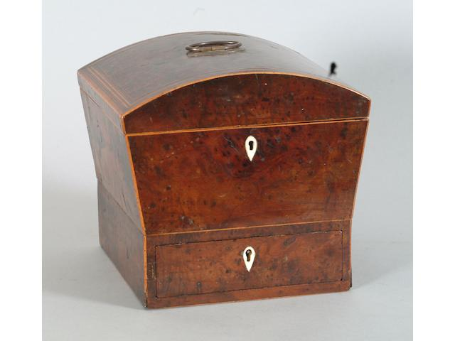 A George III yew wood work box