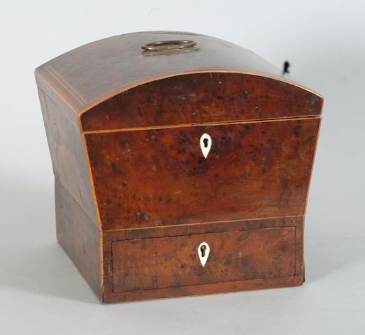 A George III yew wood work box