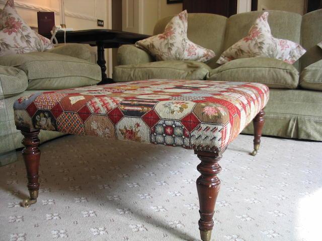 A Victorian style mahogany framed stool