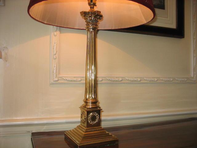 A pair of brass Corinthian column table lamp bases