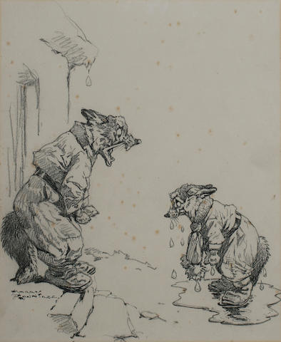 Harry Rowntree (1878-1950) British A bedraggled fox being berated by another fox - an illustration,
