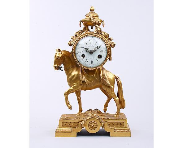 A 19th Century gilt bronze cased mantel timepiece Brille, Paris
