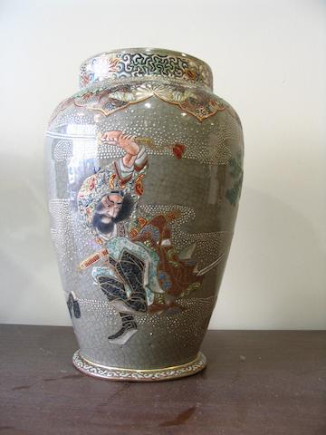 A Japanese stoneware vase