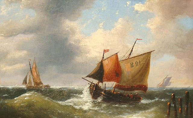 Louis Verboeckhoven (Belgian, 1827-1884) Storm brewing.