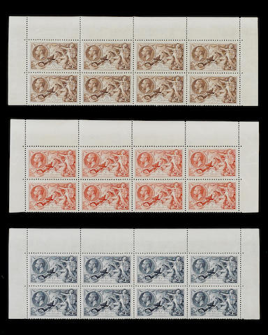 1934 re-engraved: 2/6 to 10/- set in top of sheet blocks of eight, a few very light gum bends otherw