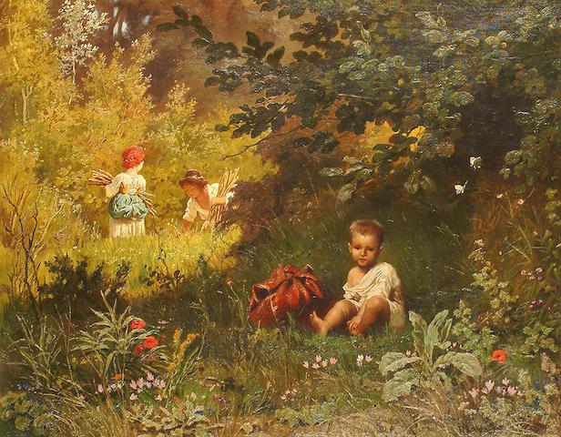 Arnaldo Corrodi (Italian, 1846-1874) A shady spot.