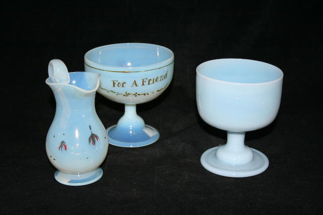 Two opalescent glass finger bowls, first half 19th Century