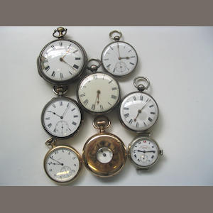 A lot of 7 various pocket watches and 16 watch movements with dials