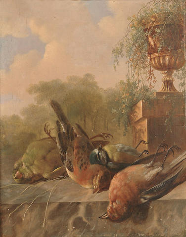 Albertus Verhoesen (Dutch, 1806-1881) Still life of birds, with an urn in the background.