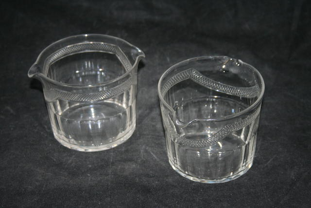 A pair of cut wine rinsers, circa 1820