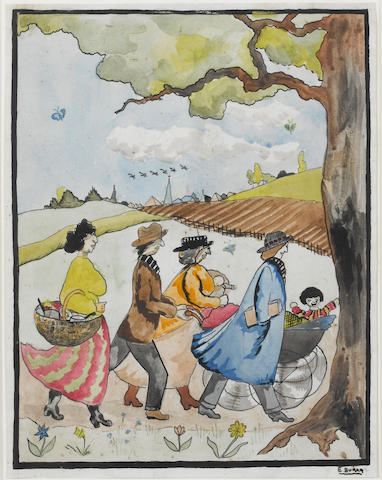 Edward Burra (1905-1976) Out for a Walk 34.3 x 26.6 cm. (13 1/2 x 10 1/2 in.)
