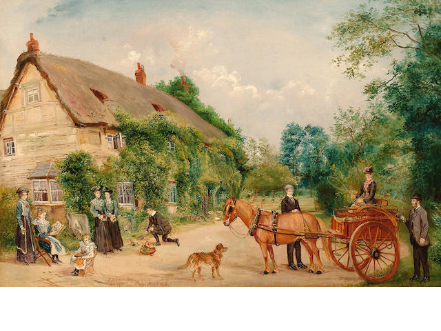 Edwin Frederick Holt (British, 1830-1912) A pony and trap in front of cottages.