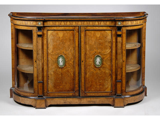 A Victorian figured walnut and amboyna crossbanded credenza