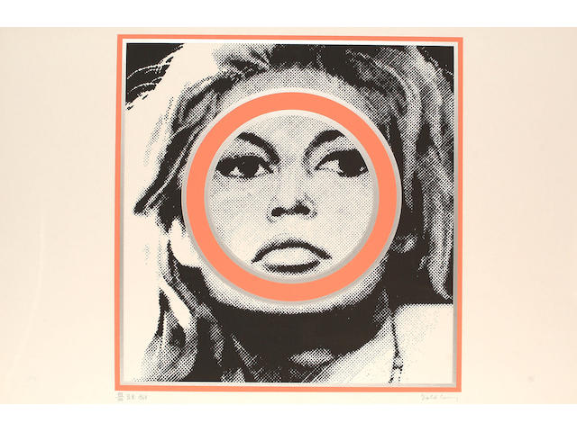 Gerald Laing (British, b.1936) Brigitte Bardot, screenprint, 1968, printed in colours, signed in pencil, also inscribed `B.B.`, dated and numbered 139/200 in pencil, in a perspex frame, 54.2 x 52.2cm (21 1/2 x 20 1/2in)