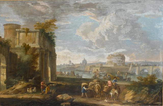 Luca Carlevarijs (Udine 1663-1727 Venice) A capriccio view of Rome  85.6 x 131.5 cm. (33 5/8 x 51¾ i