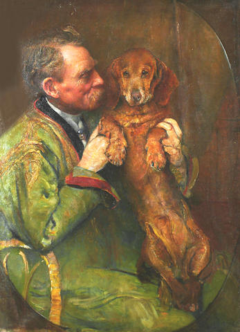 Anne L Synnerton (British, late 19th/early 20th Century) A portrait of a gentleman and his dog. ,unframed