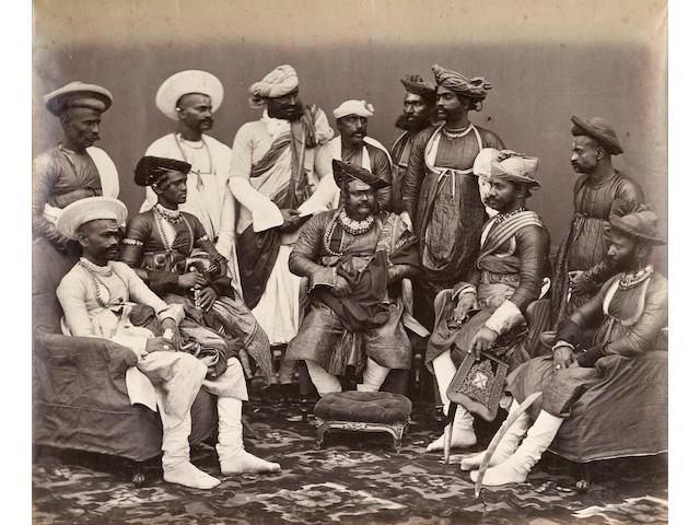 GWALIOR, MADHYA PRADESH Jayajirao Scindia, Maharaja Sindhya of Gwalior and his suite, 1880s