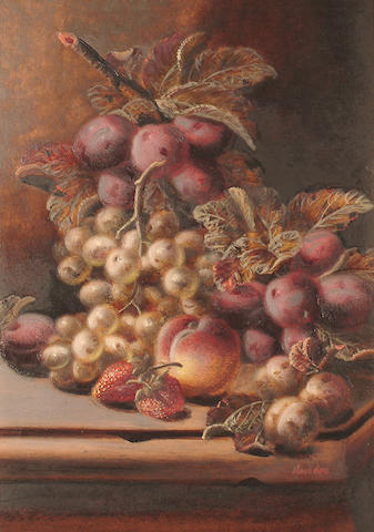 Oliver Clare (British, 1853-1927) Still lives of fruit. each 35 x 25cm (13 3/4 x 9 7/8in) (2)