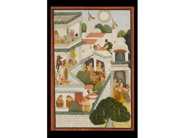 An illustration to the Bhagavata Purana: the gopis churning butter and rushing from a pavilion to gr