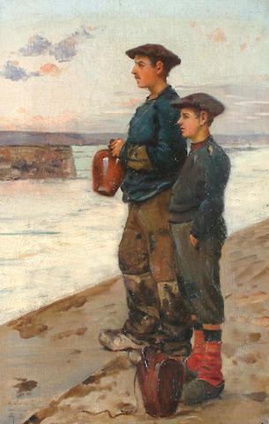 French School, Late 19th Century A fisherman and his son on a pier.