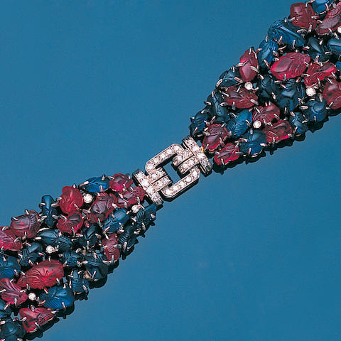An art deco ruby, sapphire and diamond bracelet, probably by Janesich,