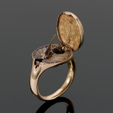 A rare 16th century gold sundial and compass ring, possibly German,
