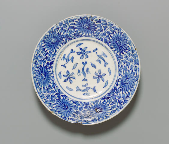 A small Kutahya blue and white pottery Dish Turkey, first half of 18th Century