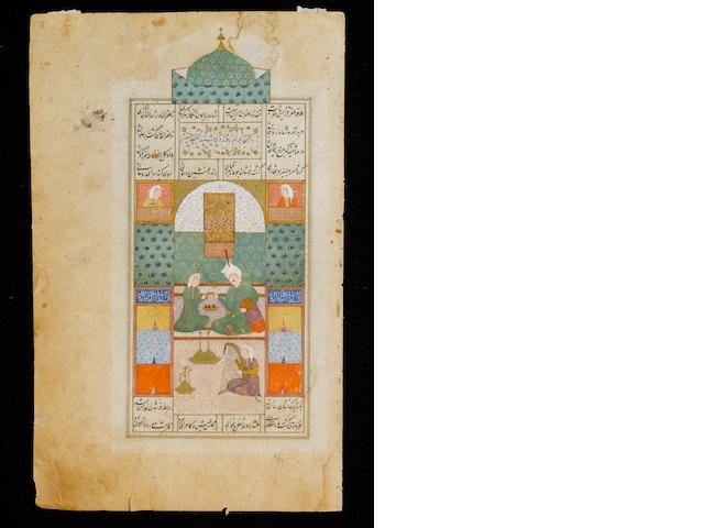 Amir Khusrau Dihlavi, Khamsa (Five Poems), with nine miniatures, copied by Pir Husain al-Katib al-Sh