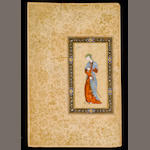 A Safavid portrait of a maiden holding a flower