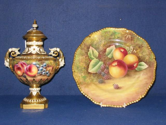 A Worcester vase & cover painted by T. Nutt & a plate by J. Skerrett.