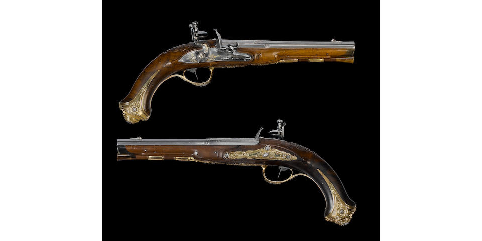 A Fine And Rare Pair Of Russian Flintlock Holster Pistols