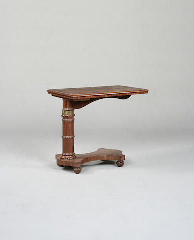 A Victorian mahogany and brass bound invalid table