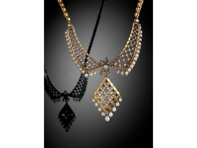 A fine Victorian gold, diamond and pearl necklace