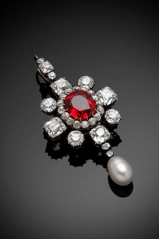 A fine Victorian red spinel, diamond and pearl pendant/brooch