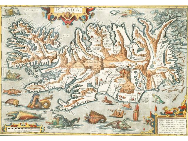 ISLANDIA ORTELIUS (ABRAHAM) Islandia, double-page engraved map, hand-coloured, decorative title, dedication and distance scale cartouches, sea monsters and polar bears, Latin text to verso, 330 x 480mm., [Antwerp], 1585