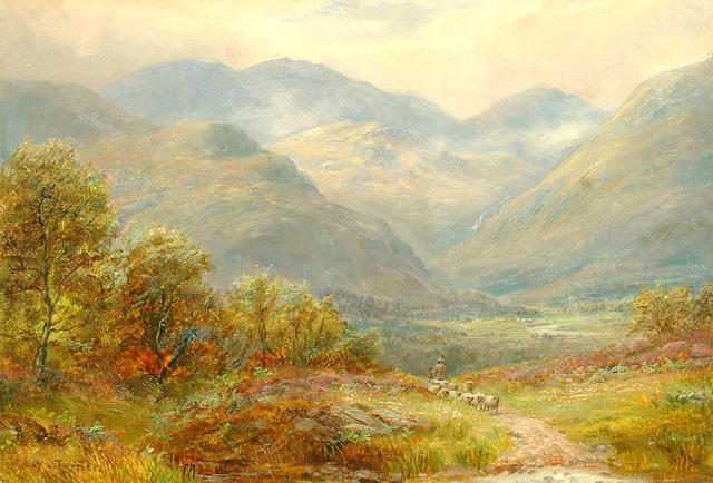 William Lakin Turner (British, 1867-1936) A shepherd and flock making their way through a Cumbrian landscape.
