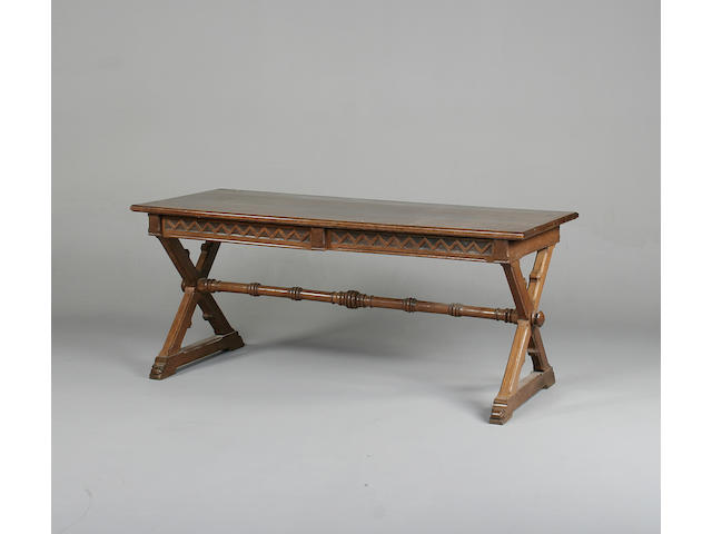 An Art and Craft oak library table