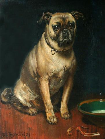 Vilhelm Jakob Rosenstand (Danish, 1838-1915) A Pug.