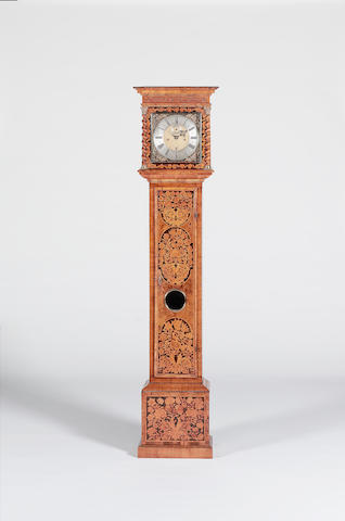 A good late 17th century marquetry walnut longcase clock of one month duration with 11 inch dial, reversed trains and bolt and shutter maintaining power John Barnett, Londini fecit
