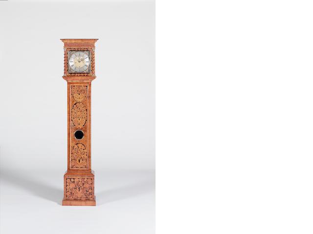 John Barnett, London, a good late 17th century marquetry walnut longcase clock of one month duration