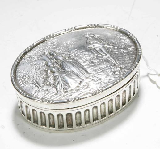 A Continental silver box,  with import marks for 1908,