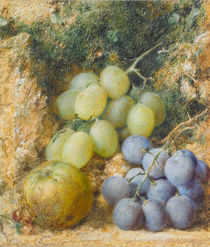 William Henry Hunt, OWS (British 1790-1864) Still life  of grapes and apple 18.5 x 16 cm. (7 1/4 x 6 1/4 in.)