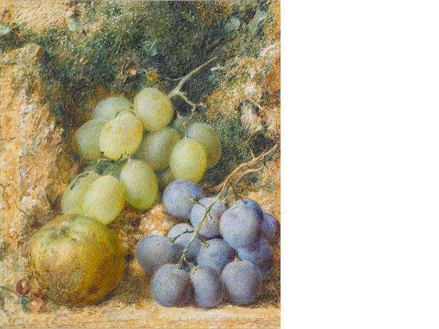 William Henry Hunt (British, 1790-1864) Still life  of grapes and apple 18.5 x 16 cm. (7 1/4 x 6 1/4