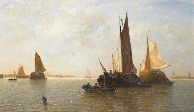 Paul Jean Clays (Belgian, 1819-1900) Dutch barges. 46 x 73.6cm (18 1/8 x 29in)