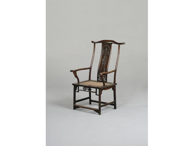A Chinese open arm chair, with yoke shaped top rail.