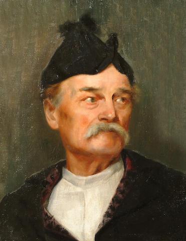 Greek School Late 19th Century Portrait of a man bust length, wearing traditional dress.